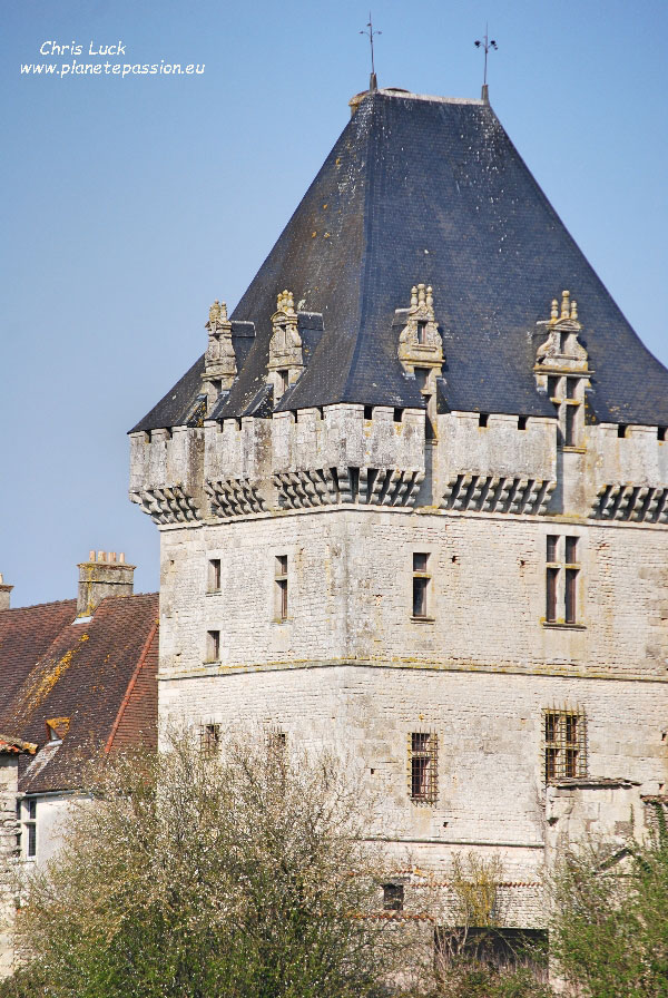 Photo:French-stone-castle-tower-with-honey-bees-in-Charente